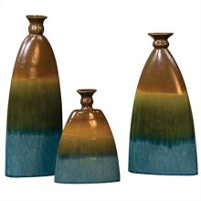 Pewter, Blue & Green Ceramic Vases