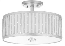 Pierce 3 Light 15.25-INCH Dia Silver Flush Mount - Silver Shade Color: Off-White