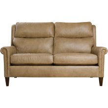 61 Loveseat, Leather Woodlands Small Roll Arm Recliner