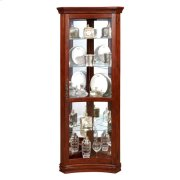 Concave 4 Shelf Corner Curio Cabinet in Cherry Brown Product Image