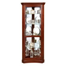 Concave 4 Shelf Corner Curio Cabinet in Cherry Brown
