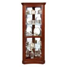 Concave 4 Shelf Corner Curio Cabinet in Cherry Brown