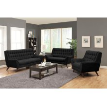 Natalia Mid-century Modern Black Three-piece Living Room Set