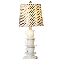 Stacked Teacup Table Lamp with Polka Dot Shade. 60W Max. Product Image