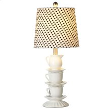 Stacked Teacup Table Lamp with Polka Dot Shade. 60W Max.