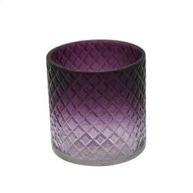 "4"" Cut Glass Candle Holder, Purple"