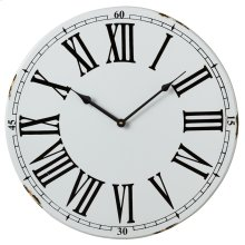 White Wall Clock with Roman Numerals.