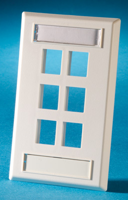 Single gang plastic faceplate, holds six Keystone jacks or modules, Cloud White