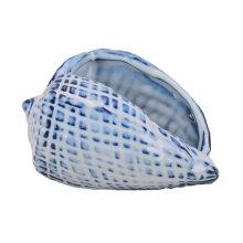 Blue Ceramic Seashell, Cone