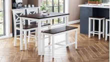 Asbury Park 4-pack - Counter Table With 2 Stools and Bench - White /autumn