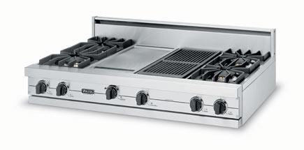 """Eggplant 48"""" Sealed Burner Rangetop - VGRT (48"""" wide rangetop six burners, 12"""" wide griddle/simmer plate)"""