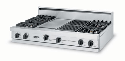 """Eggplant 48"""" Sealed Burner Rangetop - VGRT (48"""" wide rangetop four burners, 24"""" wide griddle/simmer plate)"""