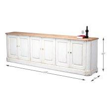 Antique White Wash Sideboard, 6 Door