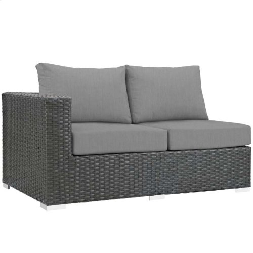Sojourn Outdoor Patio Sunbrella® Left Arm Loveseat in Canvas Gray