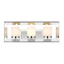 Smyth 3 Light Bath Vanity in Chrome with Cased Opal Glass