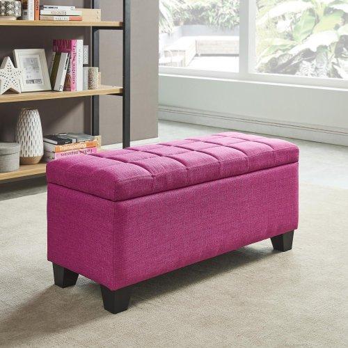 Lila Storage Ottoman in Pink