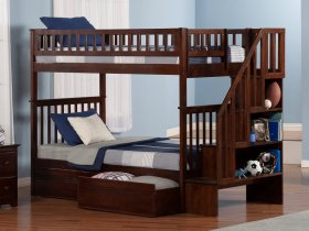 Woodland Staircase Bunk Bed Twin over Twin with Flat Panel Bed Drawers in Walnut