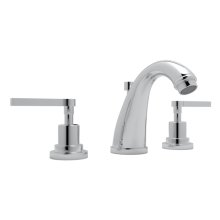 Polished Chrome Lombardia C-Spout Widespread Lavatory Faucet with Metal Lever