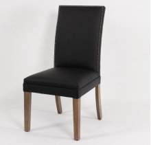 Straight top wood leg chair with nails