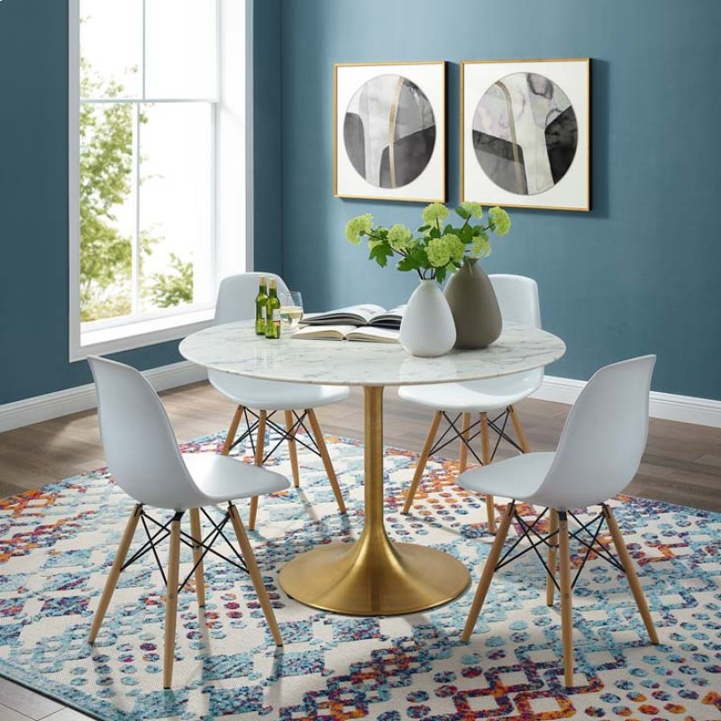 Eei3232gldwhi In By Modway Hackettstown Nj Lippa 47 Round Dining Table Gold White