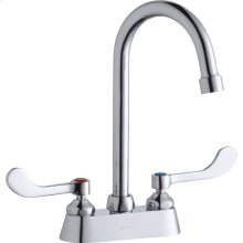 """Elkay 4"""" Centerset with Exposed Deck Faucet with 5"""" Gooseneck Spout 4"""" Wristblade Handles Chrome"""