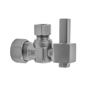 """Pewter - Quarter Turn Angle Pattern 5/8"""" O.D. Compression (FITS 1/2"""" Copper) x 3/8"""" O.D. Supply Valve with Square Lever Handle"""