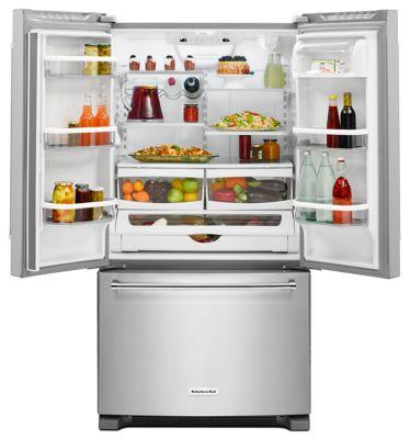 36 Inch Width Counter Depth French Door Refrigerator Hidden. KitchenAid Logo