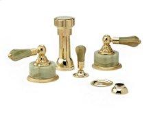 Four Hole Bidet Set Green Onyx - Polished Brass