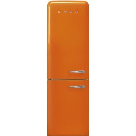 """Approx 24"""" 50'S Style refrigerator with automatic freezer, Orange, Left hand hinge"""