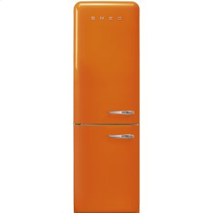 "SmegApprox 24"" 50'S Style refrigerator with automatic freezer, Orange, Left hand hinge"