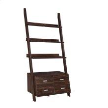 Transitional Dark Walnut Ladder Bookcase With Drawer Storage