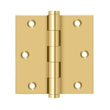 """3 1/2""""x 3 1/2"""" Square Hinge - PVD Polished Brass"""