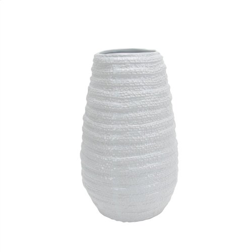 Textured White Ceramic Vase 18""