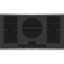 "Serie  8 36"" Induction Cooktop Benchmark Series - Black with Stainless Steel Frame NITP666SUC"