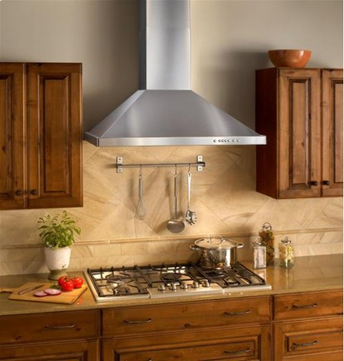 "36"" Brushed Stainless Steel Wall Mount Chimney Hood with Internal 300 CFM Blower"