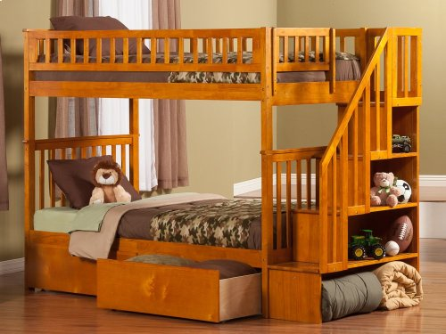 Woodland Staircase Bunk Bed Twin over Twin with Urban Bed Drawers in Caramel Latte