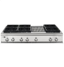 """GE Monogram® 48"""" Professional Gas Cooktop with 6 Burners and Grill (Liquid Propane)"""