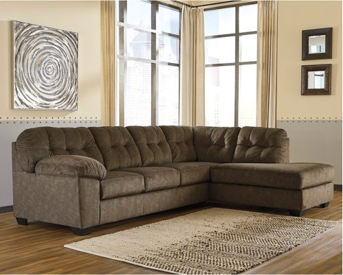 Signature Design by Ashley Accrington 2-Piece Left Side Facing Sofa Sectional in Earth Microfiber [FSD-1339SEC-2LAFS-ERT-GG]