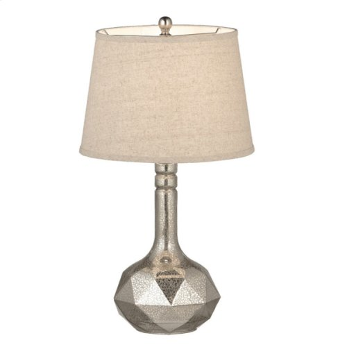 Textured Mercury Glass Lamp with Linen Shade. 150W Max.