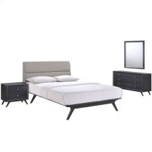 Addison 4 Piece Queen Upholstered Fabric Wood Bedroom Set in Black Gray