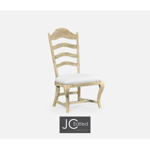 Limed Acacia Dining Side Chair, Upholstered in COM