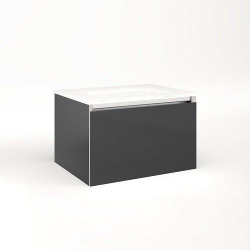 "Cartesian 24-1/8"" X 15"" X 18-3/4"" Single Drawer Vanity In Smoke Screen With Slow-close Plumbing Drawer and No Night Light"
