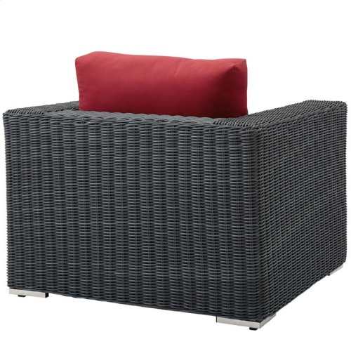 Summon Outdoor Patio Fabric Sunbrella® Armchair in Canvas Red