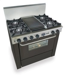 "36"" Dual Fuel, Convect, Self-Clean, Open Burners, Black"
