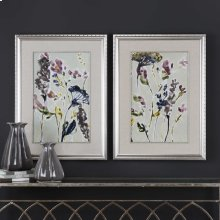 Parchment Flower Field Framed Prints, S/2