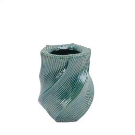 """Ceramic Vase W/ Swirl Pattern, 10.5"""" Turqouise"""