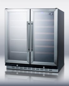 """30"""" wide built-in undercounter dual zone wine and beverage cooler with locks, digital thermostats, and glass doors in a French door swing"""