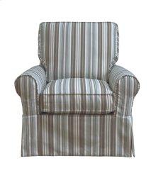 Sunset Trading Horizon Slipcovered Box Cushion Swivel Rocking Chair  Blue Striped  Color: 395225