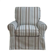 Sunset Trading Horizon Slipcovered Box Cushion Swivel Rocking Chair  Blue Striped  Color: 395225