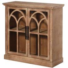 Brantley  34in X 13in X 34in  2 Door Wooden & Glassed Cabinet Tempered Glass 2.4in Wrap Around Doo